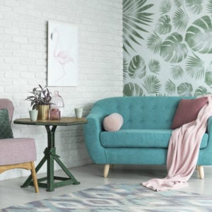 Living room with wallpaper