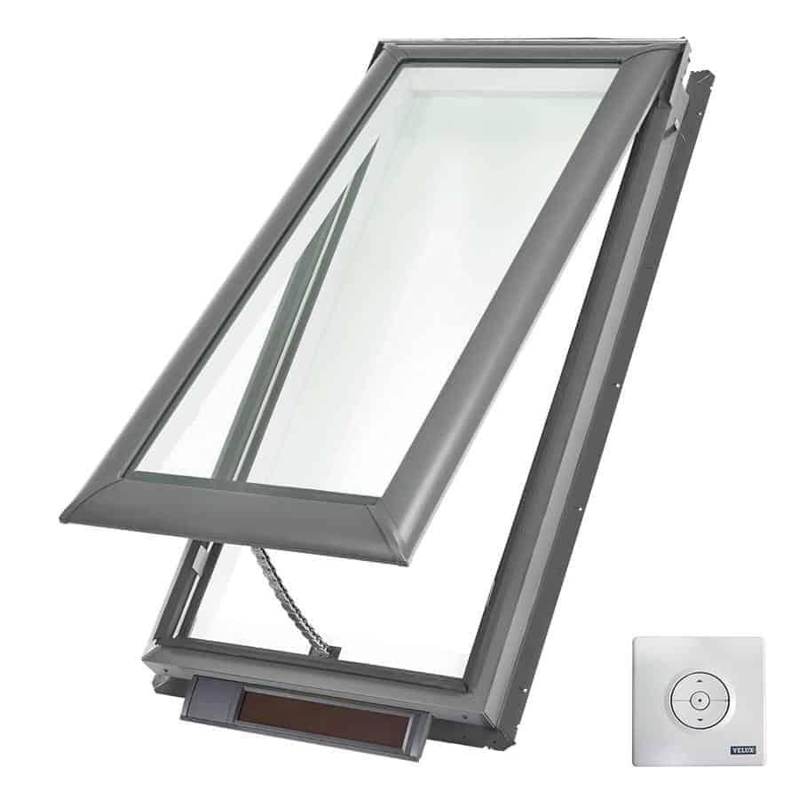 Solar-powered ventilating skylight