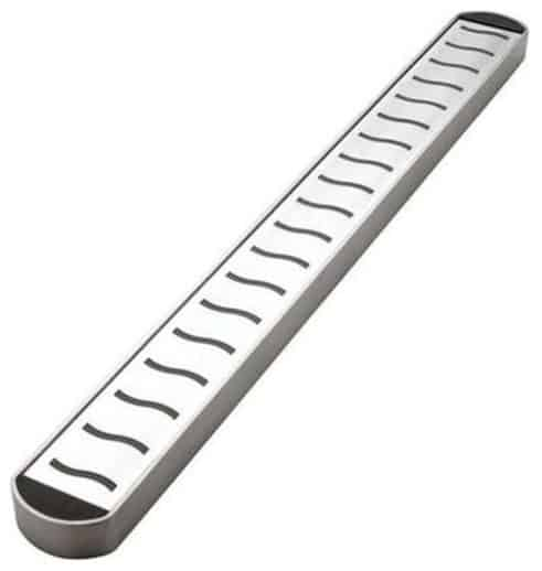 A stainless steel, magnetic knife bar.