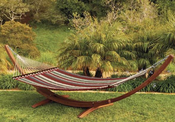 A contemporary-style hammock with a wooden stand.