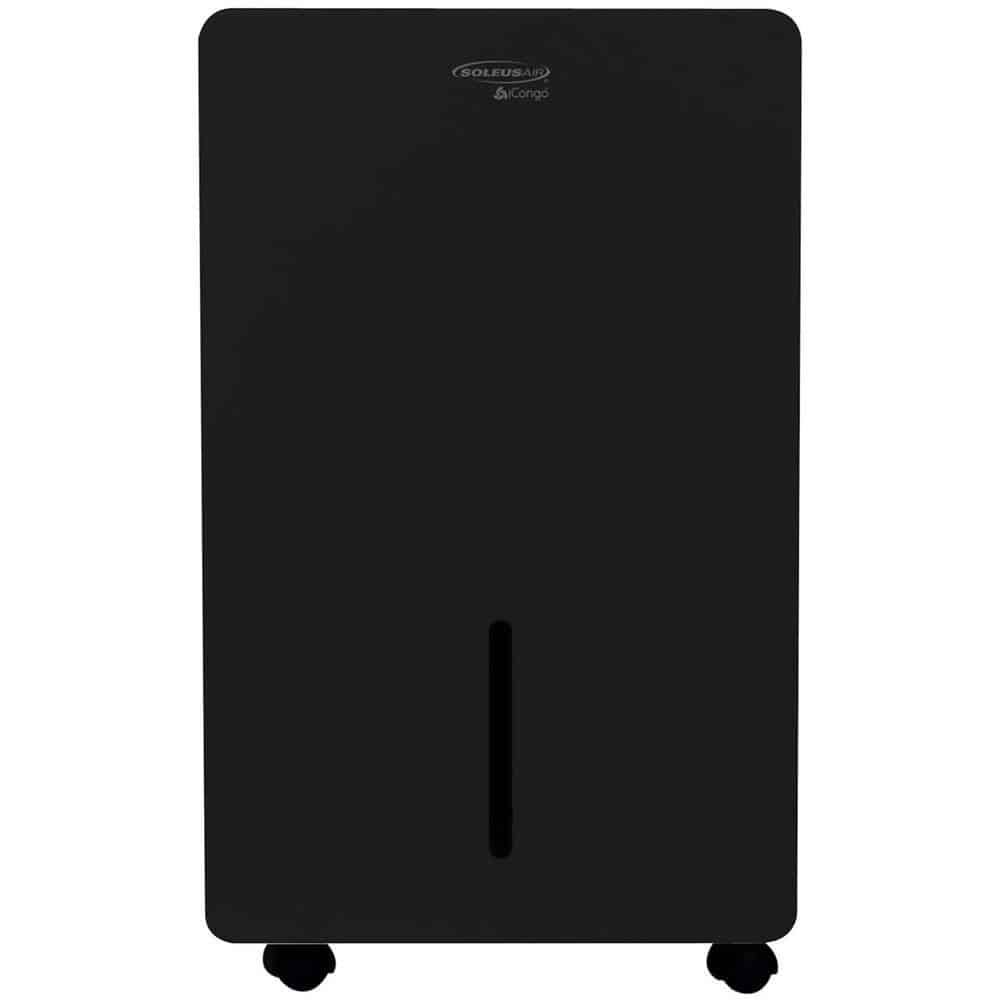Black dehumidifier with a smooth, matte finish.