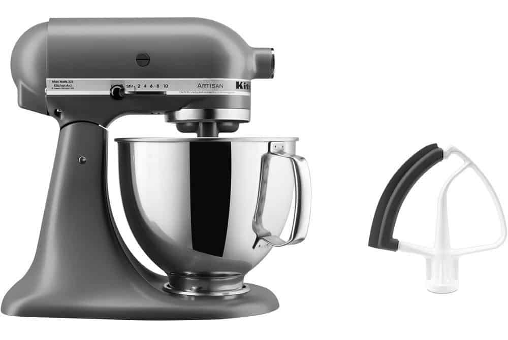 Matte gray mixer with a flex edge beater.
