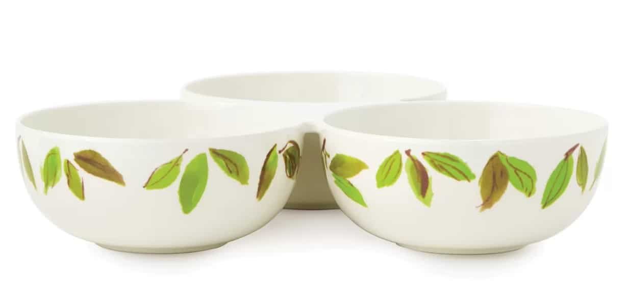 Kate Spade New York Lemon melamine trio bowl with white base color and leaf pattern on exterior part of the bowl.