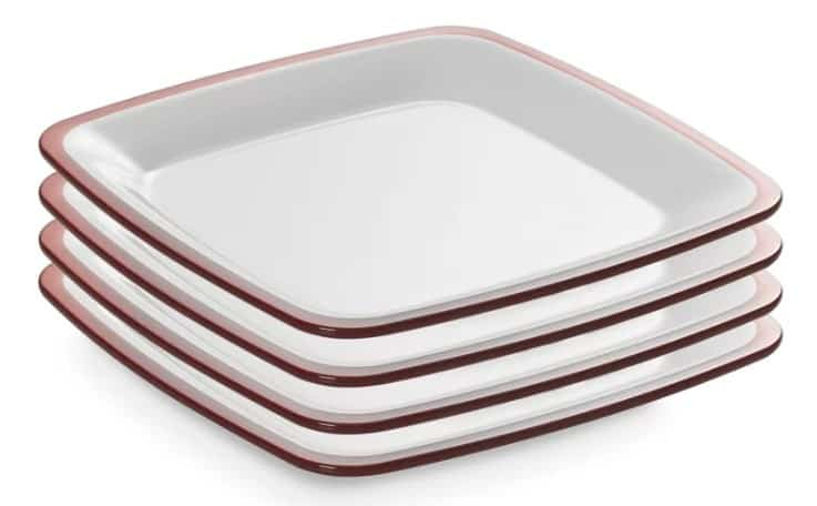 Omada 4 Piece melamine dinner plate set with an inside bowl made of an opaque white stain resistant acrylic while the outer shell and border are made of a clear brightly colored acrylic.