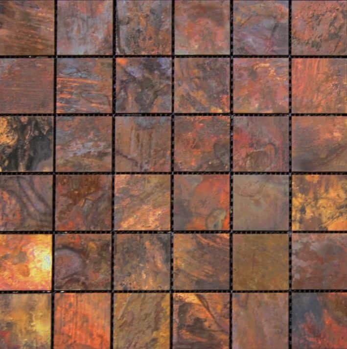 Copper metal kitchen backsplash.