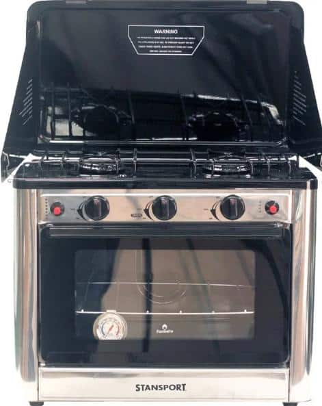Outdoor, metal gas range with two-burner cooktop.