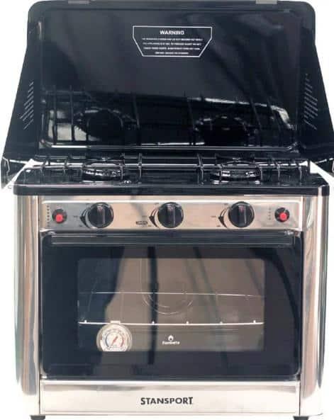 Outdoor, metal gas range with two-burner cooktop.
