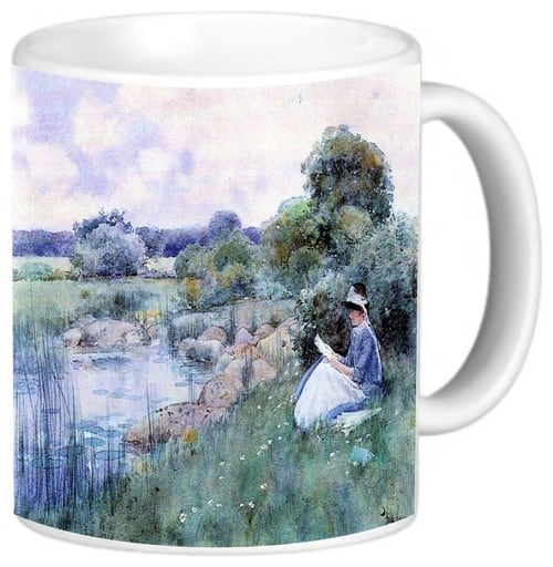 Childe Hassam art woman microwave safe coffee mug.