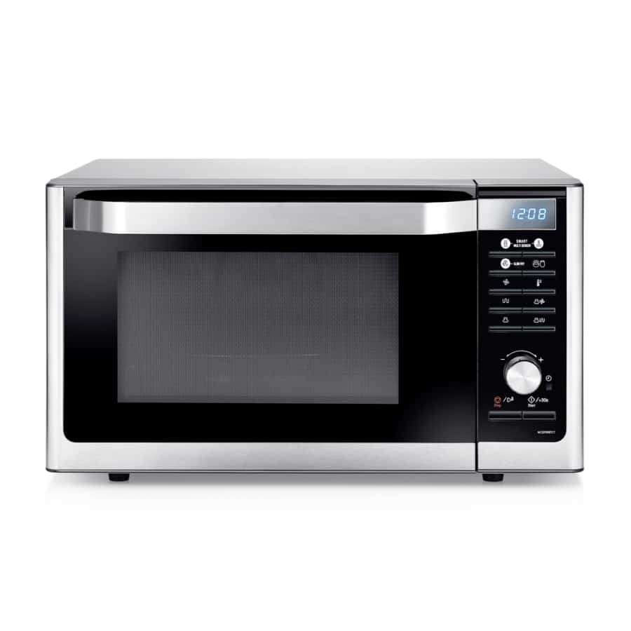 Stainless steel microwave oven in a white background.