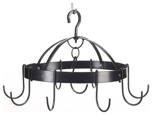 Round mini hanging pot rack in black.