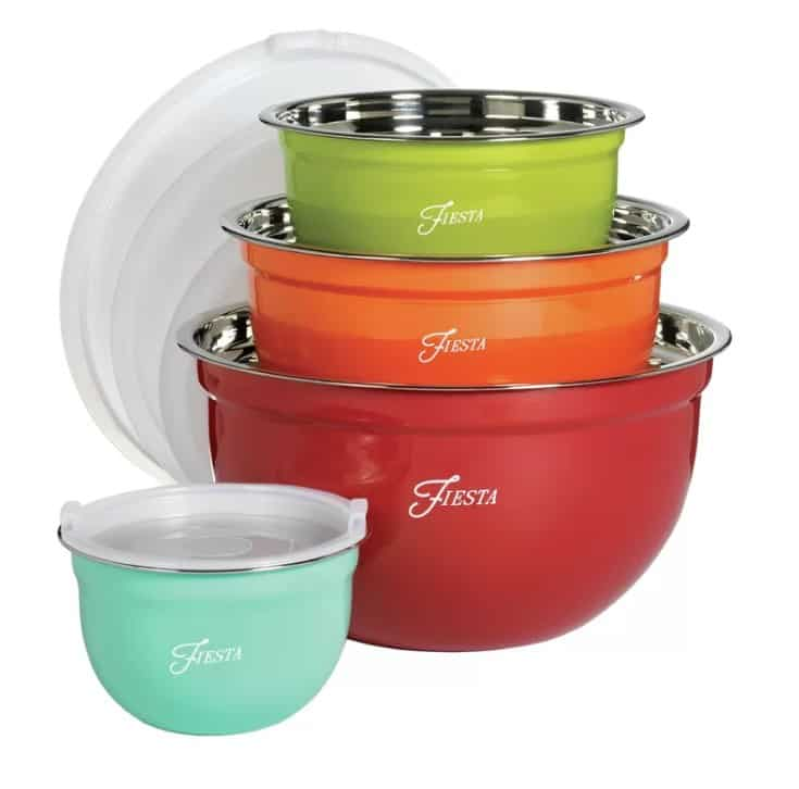 From Fiesta, this vibrant 8-piece bowl set is the perfect addition to any collector's kitchen comes with four colorful stainless steel bowls in varying sizes include lids.