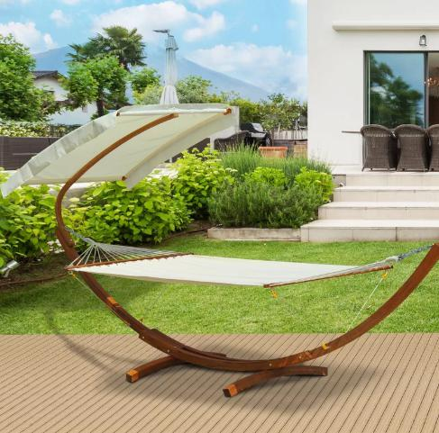 Modern-style, off white hammock with a stylish stand included.