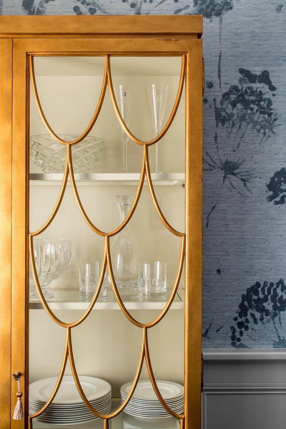 Close up look of the dining room's cabinet. Photo credit: Sean Litchfield