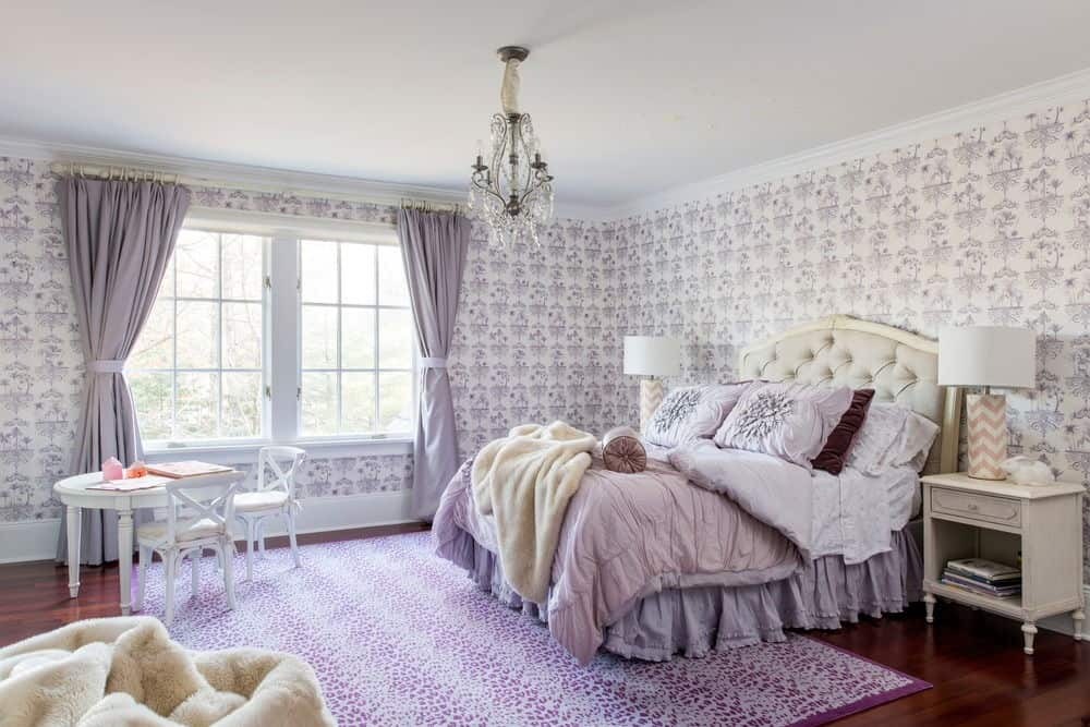 The girls bedroom has a shade of purple with its purple rug bed and curtains. KNOF design & 65 Lovely Girls Bedroom Design Ideas for 2018