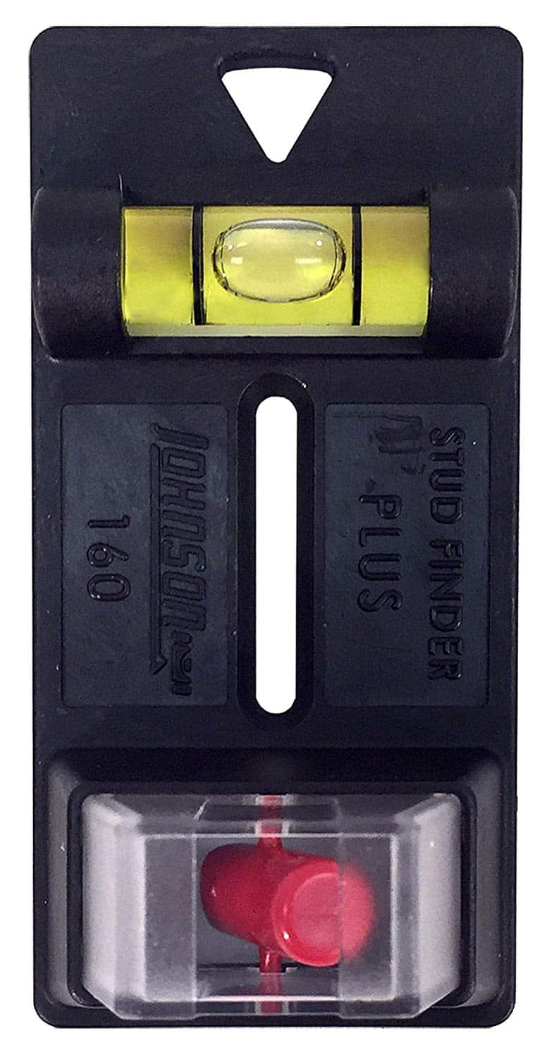 Project stud finder Plus, durable high impact plastic base with clear acrylic lens, strong, Red indicator magnet, acrylic yellow barrel vial.