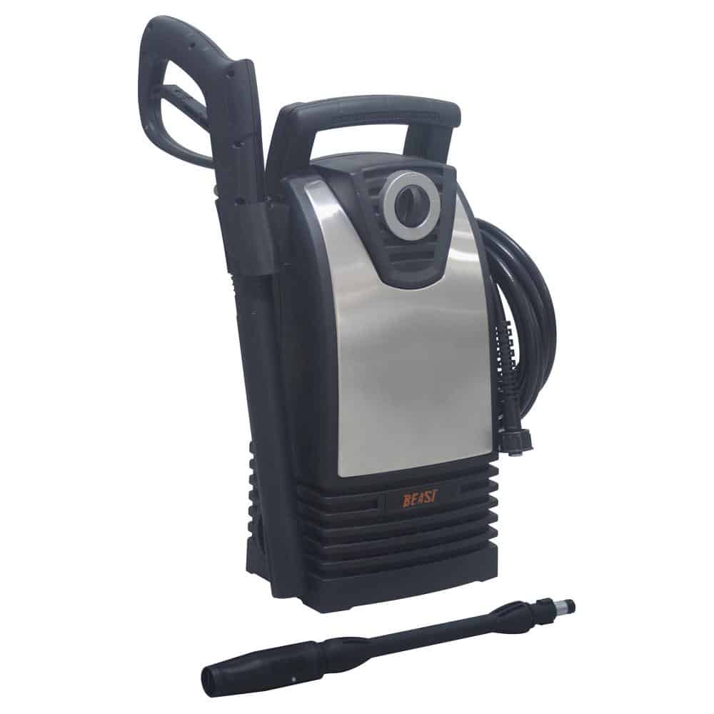 Pressure washer with a soap dispenser.