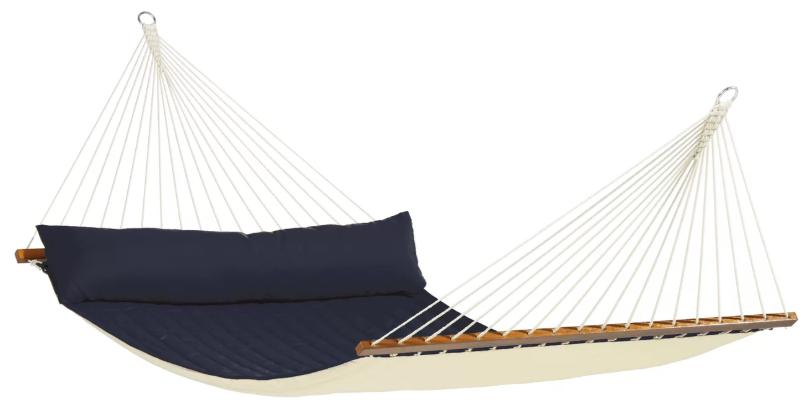 Navy blue hammock with spreader bars.