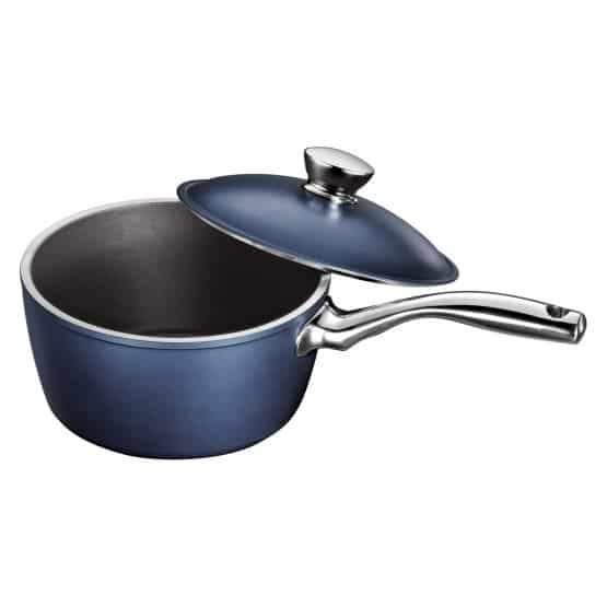 Tramontina limited editions LYON covered non-stick sauce pan in sapphire color.