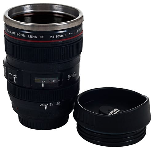 Camera lens novelty coffee glass.