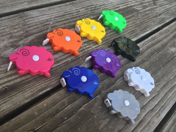 Sheep shaped novelty tape measure comes in many colors.