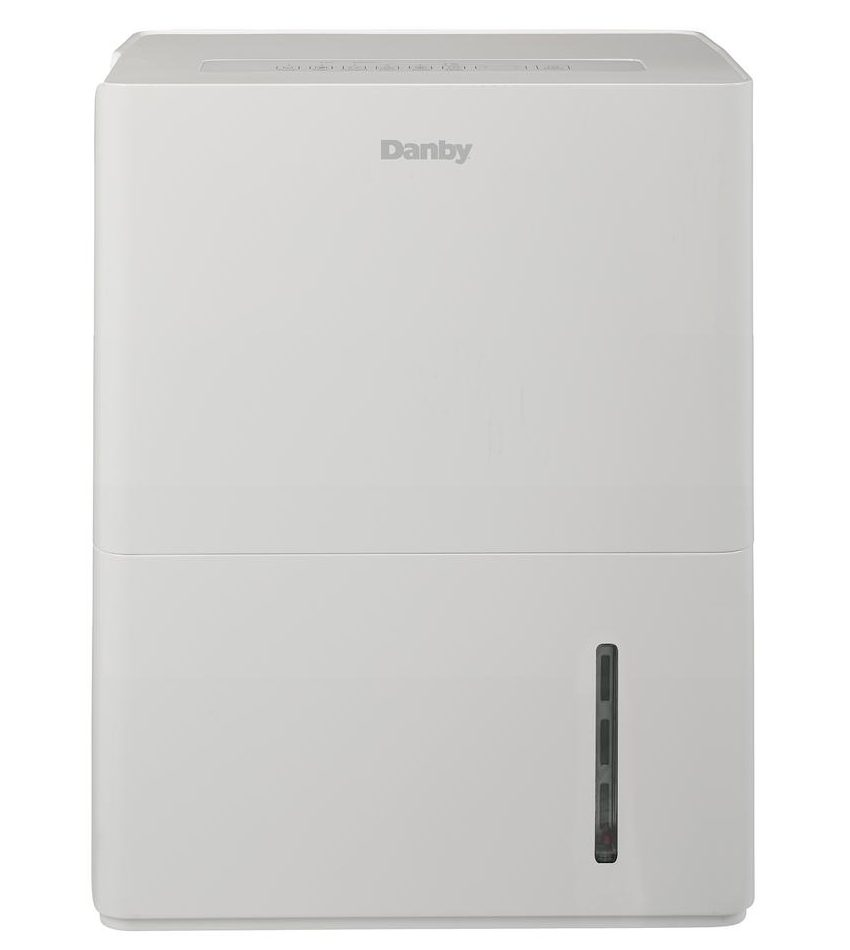 An off-white dehumidifier with a sleek finish.