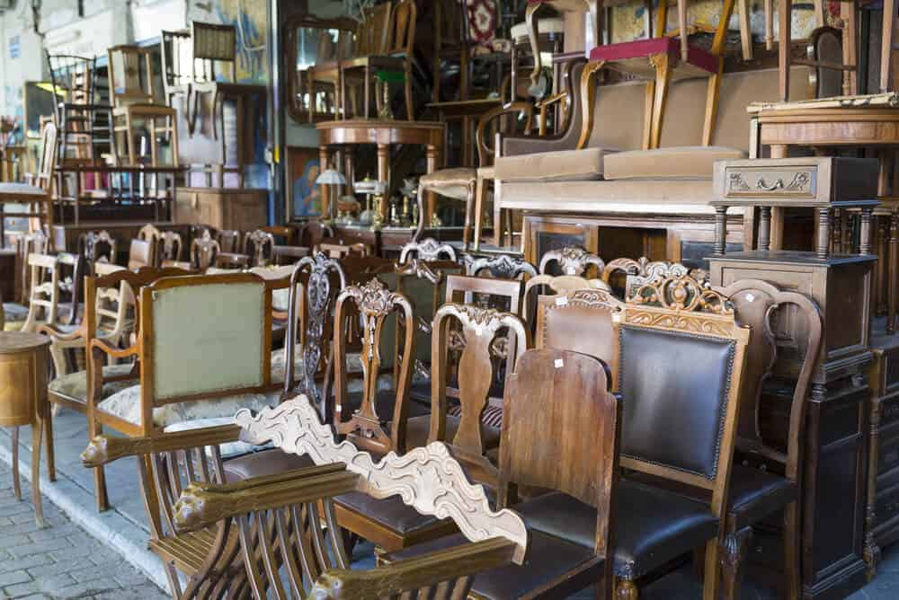 A display of second hand, wooden furnitures.
