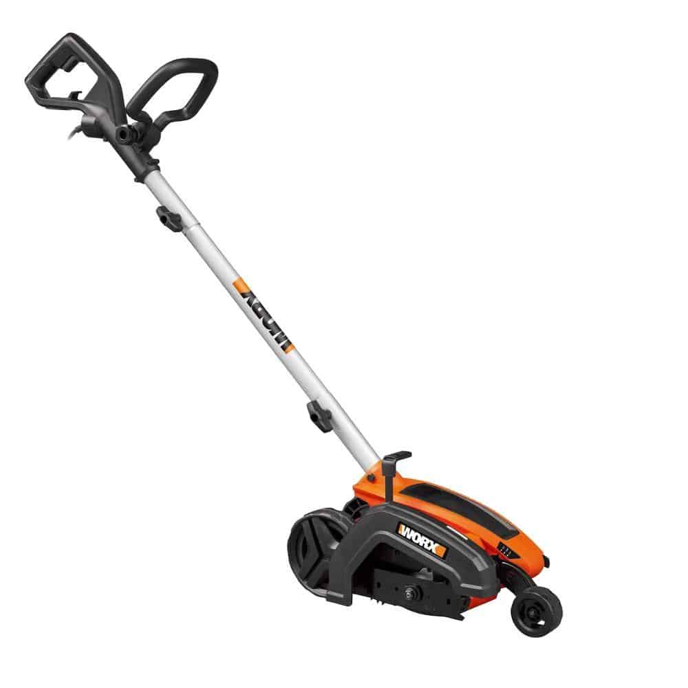 Electric lawn edger in orange and black.