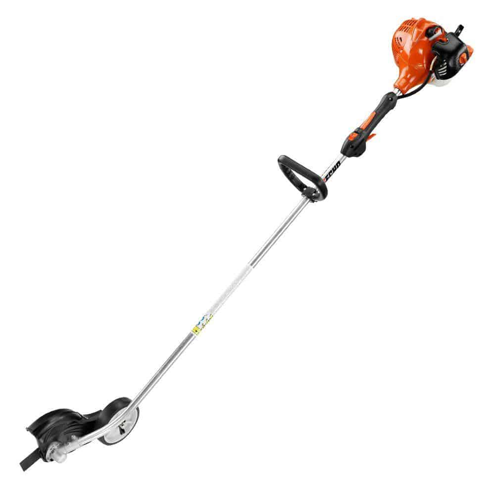 Orange, gas-powered stick edger.