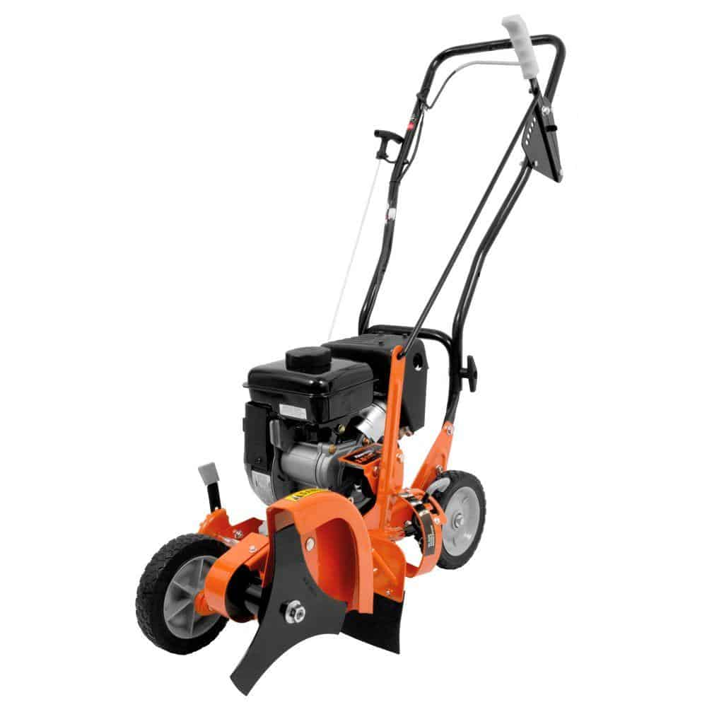 Orange walk-behind lawn edger with a curb-hopping feature.