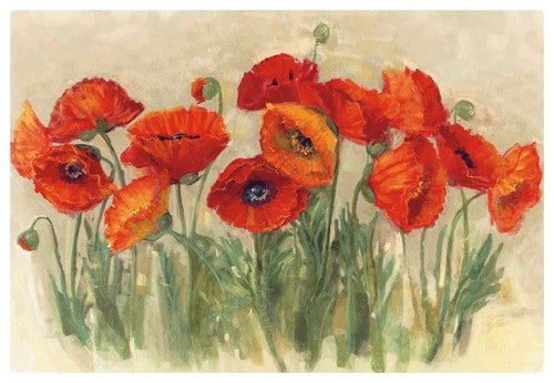 Flexible cutting mat with painted poppies.