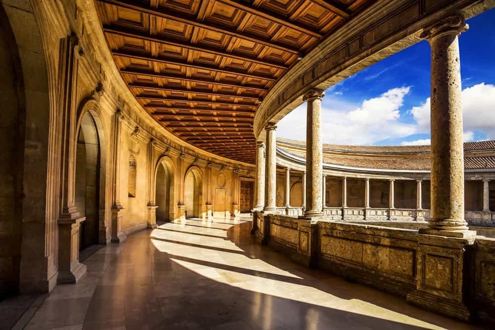 Courtyard of the Palacio de Carlos V in La Alhambra, Granada, Spain.
