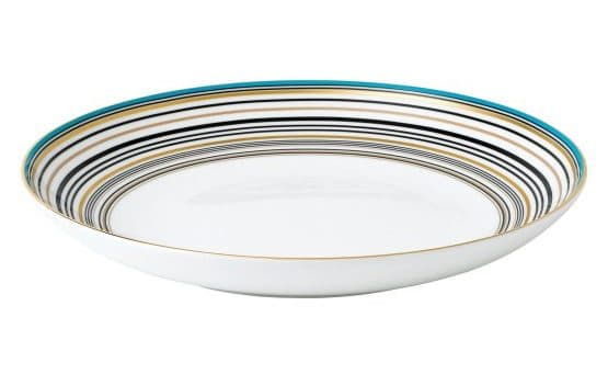 Wedgwood Vibrance pasta bowl provides plenty of space for a heaping serving of pasta with a blue, gold, and black loop around of its rim as its design.