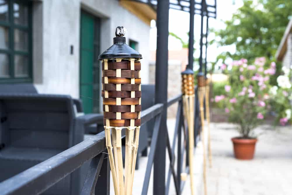 Tiki torches outdoors.