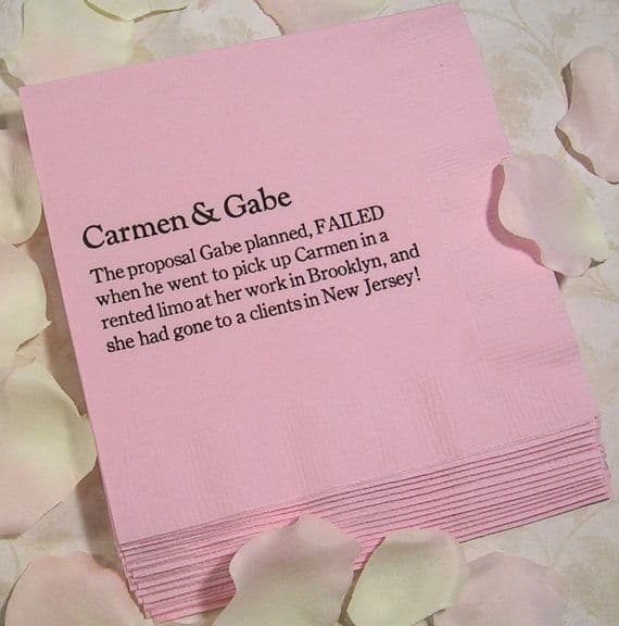 Pink personalised napkins.