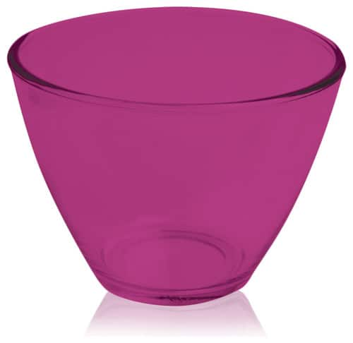 Contemporary, plastic mixing bowl in fuchsia pink.