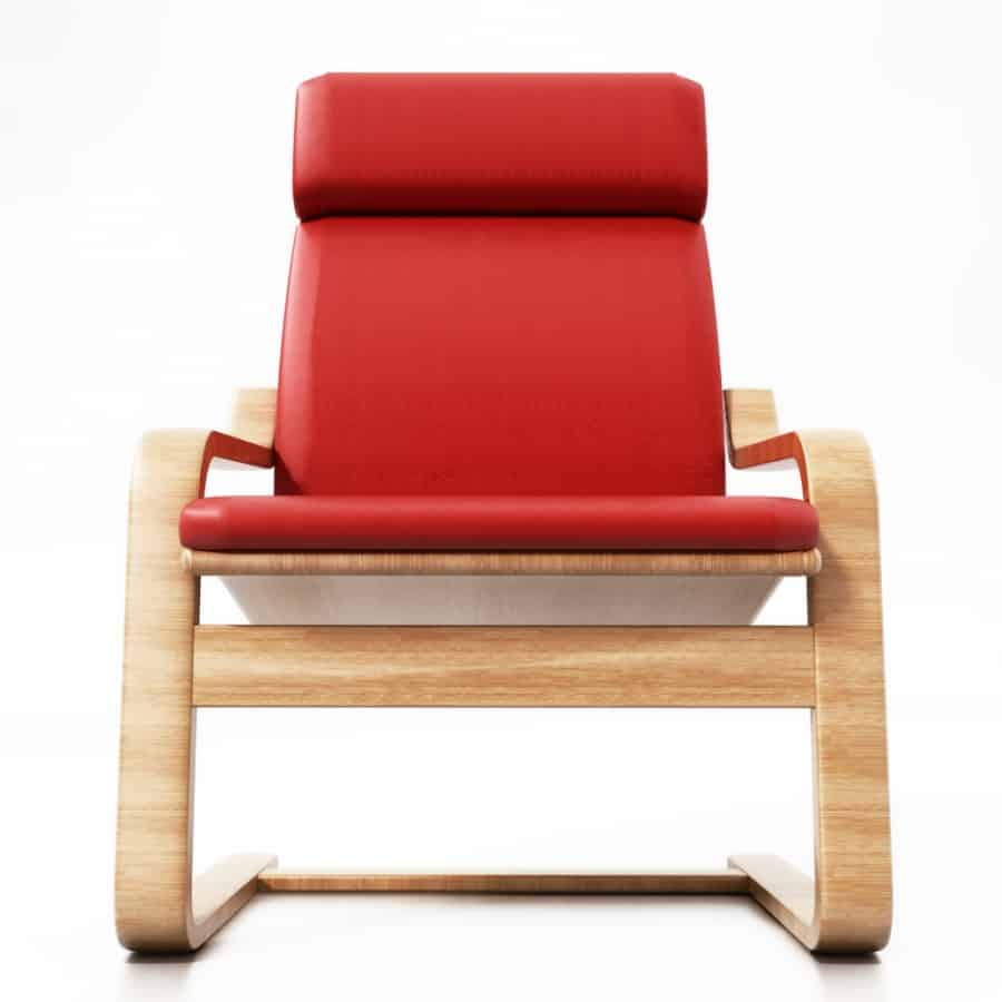 Modern red POÄNG chair in front profile.
