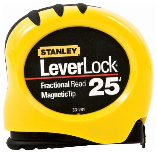 Stanley LeverLock pocket measuring tape with magnetic tip.