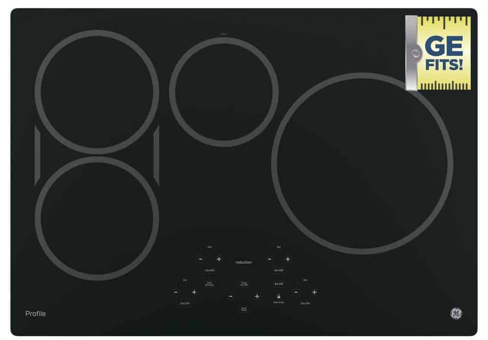 Induction cooktop with four elements.