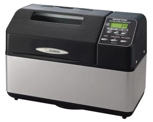A rectangular bread machine in black and silver.