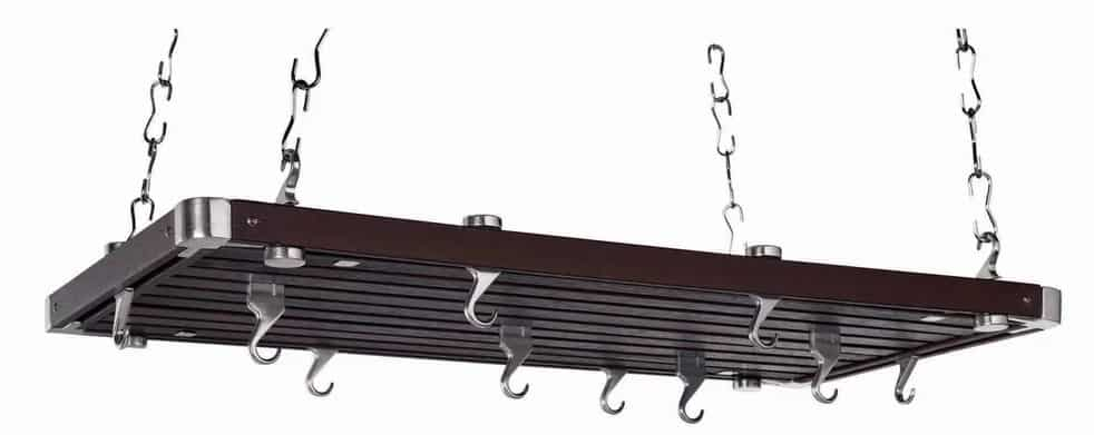 Rectangular ceiling mounted pot rack made with metal and wood.