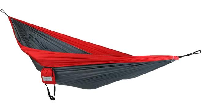 Red and black, portable hammock great for camping..