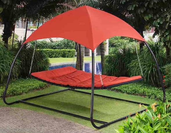 Red hammock with canopy.