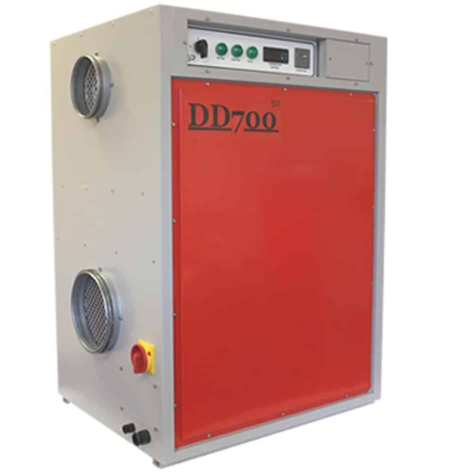Red and gray, desiccant dehumidifier.