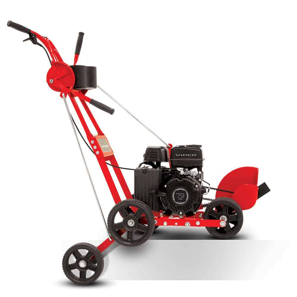 Red lawn edger with adjustable front wheels.