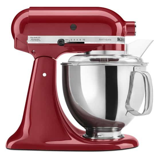 Metallic red and silver mixer with a soft start feature.