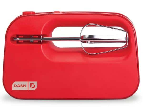 A red, portable hand mixer with a smart storage design.