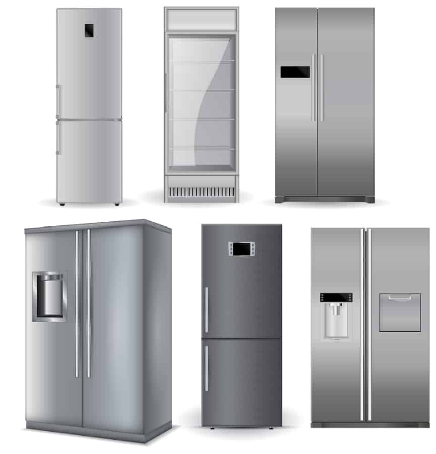 A set of different refrigerator models.