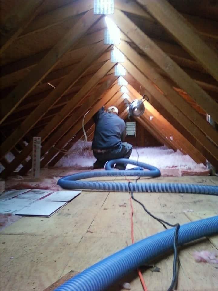 Man putting in fiberglass insulation in attic