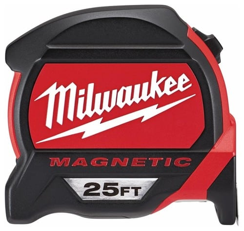 Milwaukee 25-feet retractable magnetic tape measure.