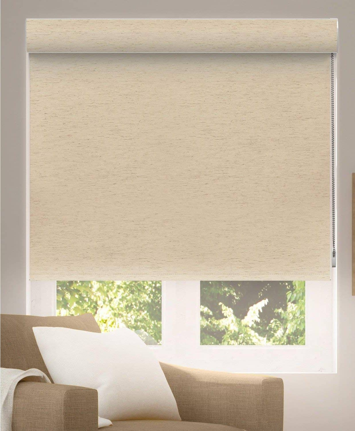 Enjoy the soft ambiance of this roller shade that only light filtering fabrics can create with these airy yet privacy fabrics.